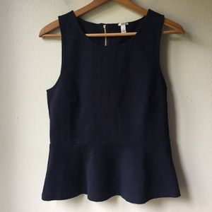 J. Crew Ponte Peplum Top in Navy